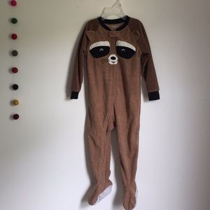 3/$15 raccoon fleece footie pjs